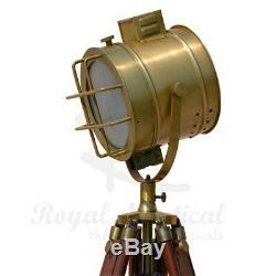 Lampadaire Trépied Nautique En Bois Éclairage Spotlight Led Home Vintage Light