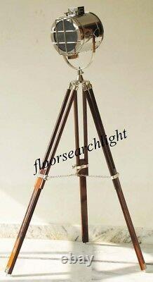 Lampadaire Vintage Big Spotlight Naturel En Bois Trépied Grande Lampe Searchlight