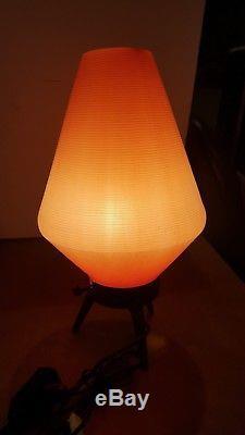 Lampadaire Vintage MID Century Atomic Modern Lampes Trépied En Bois Orange