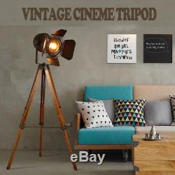 Lampadaire Vintage Sur Trépied, Projecteur Rétro Nautique, Projecteur Industriel En Bois