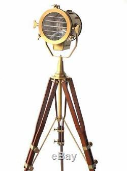 Lampadaire Vintage Trépied Projecteur Antique Laiton Réglable Lumière Décoration De La Chambre