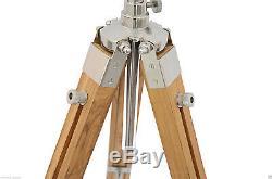 Lampe De Bureau / Console De Plancher Vintage En Bois Royale En Bois