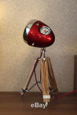 Lampe De Bureau Vintage De Phare De Moto Avec Trépied En Bois