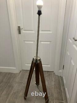 Lampe De Plancher En Bois Vintage Stand Tripod Acier Et Aluminium