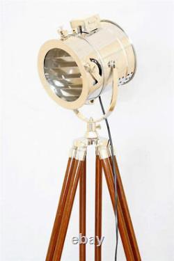 Lampe De Plancher Vintage Spotlight Avec Trépied En Bois Chrome Finish Spot Light Decor