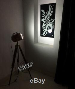 Lampe De Projecteur Trépied En Bois Chambre Rétro Chevet Lumière Prise De Cuivre Décor Vintage