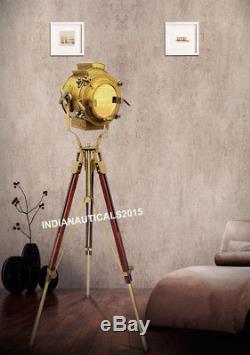 Lampe De Sol Projecteur En Laiton Vintage En Laiton Spotlight En Bois