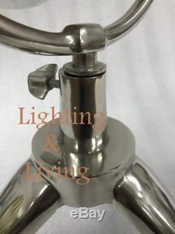 Lampe De Table En Bois Lampe De Lecture De Bureau Support De Trépied Raw Nickel Vintage Decor