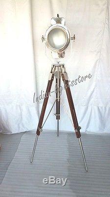 Lampe De Trépied Industrielle Vintage En Métal Et Bois Chrome Spot Spot Light Decorative