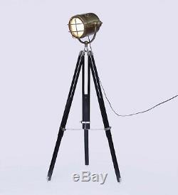 Lampe De Trépied Vintage Noire Traditionnelle Pour Grille De Film Lourde Lourde Avec Finition En Laiton