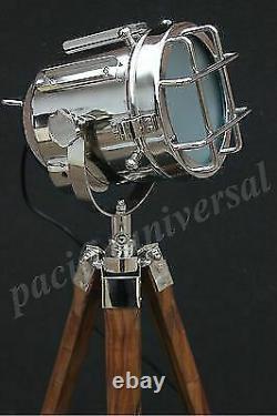 Lampe Nautique E 27 Plancher Avec Trépied Vintage Searchlight Studio Lamp Décoratif