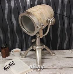 Lampe Pandim Spot Table Vintage Aluminium Naturel Bois Trépied Support En Métal Léger