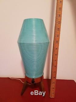 Lampe Ruche Vintage MID Century Vintage Trépied En Bois Bleu Turquoise