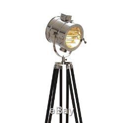 Lampe Sur Pied Trépied Éclairage Projecteur Studio Photographie Vintage Bois Noir Stand