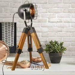 Lampes De Trépied De Table De Plancher Vintage Decoluce Industrial, Lampe De Stand En Bois Noir
