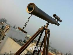 Lunette Astronomique En Laiton Antique Avec Bois Trépied Vintage Marine Us Navy Cadeau