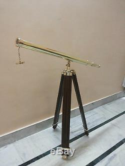 Lunette Astronomique En Laiton Avec Trépied En Bois Vintage Nautique Cadeau Décoratif