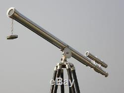 Marine Marine Nautique Vintage One Telescope Main Barrel Brown Trépied En Bois