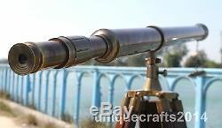 Marine Marine Télescope Nautique Vintage En Laiton Baril Trépied En Bois Brun Xmaxgift