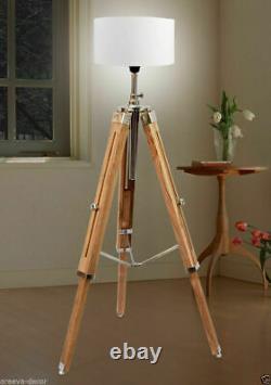 Marine Nautical Teak Wood Vintage Floor Lamp Wooden Tripod Stand Use With Shade