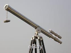 Marine Navy Nautique Vintage Un Télescope À La Main Barrel En Bois Trépied En Bois