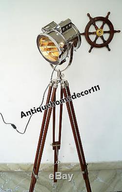 Marine Vintage Searchlight Lustre Retro Lampadaire Avec Support Trépied En Bois