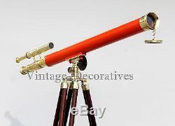 Marine-marine-laiton-telescope-double-baril-avec-tripode-en Bois-vintage-home-decor