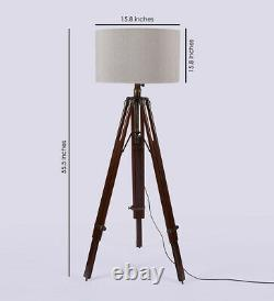 Nautical Antique Floor Shade Lamp Brown Wooden Tripod Stand Handmade Home Décor