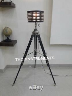 Nautique Classique En Bois Trépied Esthétique Vintage Éclairage Stand Lampadaire Lumière