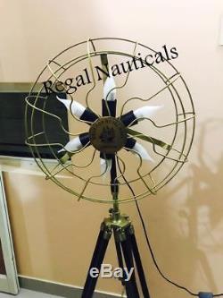 Nautique Décor 6 Titulaires Ventilateur Lampe Lumière Solide Trépied En Bois Sol Vintage