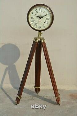 Nautique Inde Mur En Bois Horloge Avec Trépied Home Decor Vintage Horloge