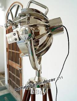Nautique Projecteur Searchlight Style Vintage En Bois Trépied Sol Lampe