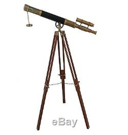 Nautique Spyglass Telescope Trépied En Bois Marine Vintage Double Barrel Scope