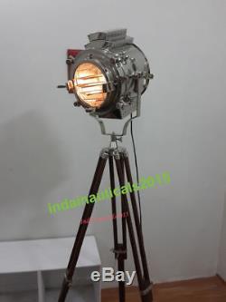 Nautique Vintage Hollywood Spotlight Lampadaire En Bois Trépied De Noël Cadeaux