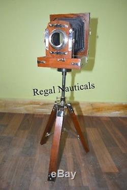 New Antique Look Vintage Film Caméra De Bois Trépied De Collection Studio Cadeau Article