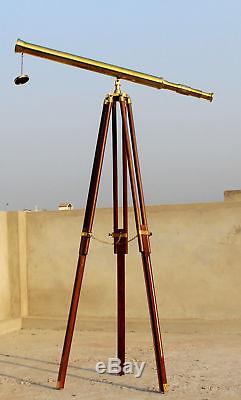 Nouveau Télescope Nautique En Laiton Massif Avec Trépied En Bois, Cadeau Vintage Unique