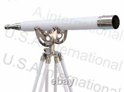 Nouveau Télescope Vintage Marine D'observation Nautique De Spyglass De Laiton Avec Le Stand De Trépied