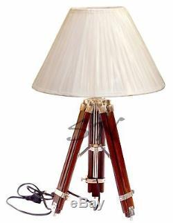 Ombre Vintage Trépied Sol Lampe Lourde Support En Bois Accueil Objets De Collection Décor
