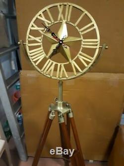 Or Métal Nautique Horloge Bois Tripod Modern Vintage Antique Style Art Décor