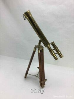 Original Authentic Vintage Brass Telescope Et Trépied En Bois Circa 1890 1905