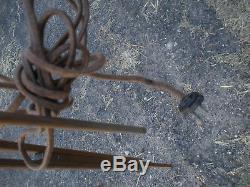 Paire (2) Vintage Antique Industriel Trépied Bois Réglable Lampes Shades Vert