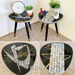 Paire Trépied Milieu Du Siècle Usine Support De Table D'affichage Côté End Table Formica Vintage