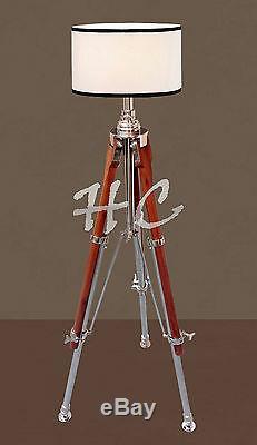 Pied De Lampe De Table Trépied Chrome En Bois Nautique Lampe Marine Vintage