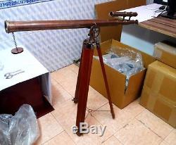 Pied De Trépied En Bois De Télescope Vintage Nautique Vintage En Laiton Antique De Spyglass