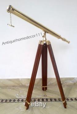 Plancher De Télescope Vintage 39 En Laiton De Maître De Port De Plancher De Plancher Avec Le Cadeau En Bois De Trépied