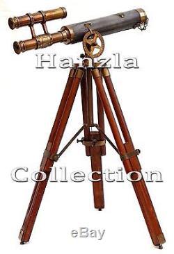 Portée Vintage De Double Baril De Télescope En Laiton En Cuir Antique Avec Le Trépied En Bois