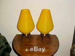 Pr Vtg Milieu Du Siècle Moderne En Plastique Ruche Atomique Trépied Lampes