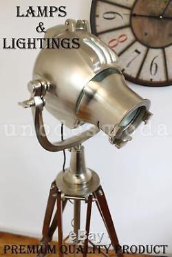 Projecteur De Lampe Trépied Gros Projecteur Lourd Vintage Avec Trépied En Bois
