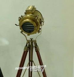 Projecteur Nautique Antique Lampe En Bois Trépied Sol Vintage Searchlight Lampe