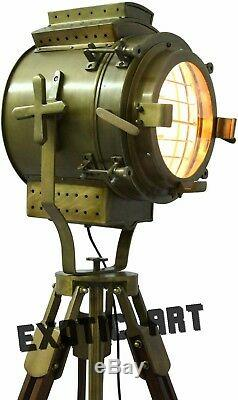 Projecteur Nautique-trépied-lampadaire-avec-vintage-projecteur De Sol En Bois